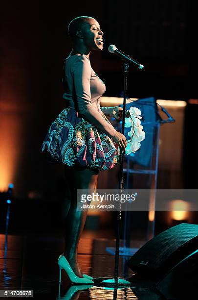 Singer Laura Mvula performs at the 20th Annual Los Angeles Gala Dinner hosted by Conservation International on March 10 2016 in Culver City California