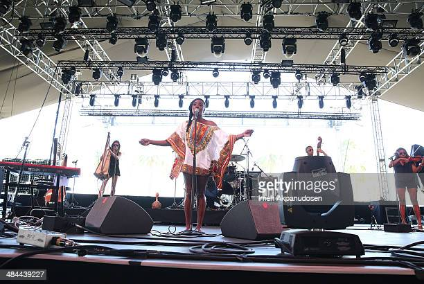 Singer Laura Mvula performs onstage during day 2 of the 2014 Coachella Valley Music Arts Festival at the Empire Polo Club on April 12 2014 in Indio...