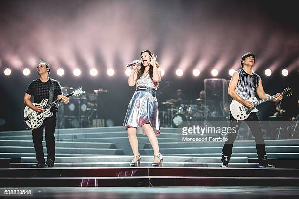 Singer Laura Pausini and guitarist and her partner Paolo Carta in concert at the Stadium San Siro Milan Italy 5th June 2016