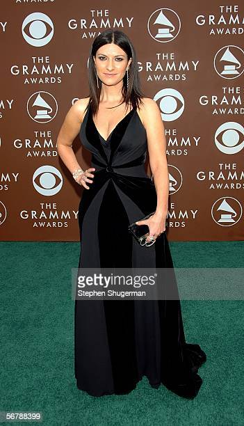 Singer Laura Pausini arrives at the 48th Annual Grammy Awards at the Staples Center on February 8 2006 in Los Angeles California