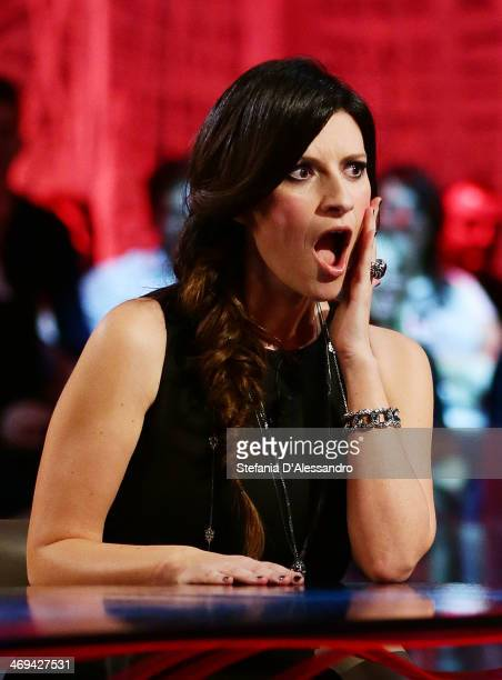 Singer Laura Pausini attends 'Le Invasioni Barbariche' TV Show on February 14 2014 in Milan Italy