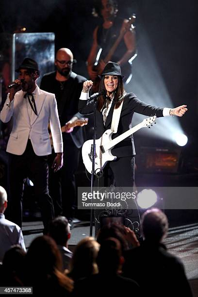 Singer Laura Pausini in concert at The Greek Theatre on October 18 2014 in Los Angeles California