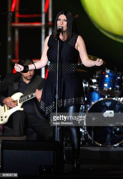 Singer Laura Pausini performs onstage at the 2009 Person Of The Year Honoring Juan Gabriel at Mandalay Bay Events Center on November 4 2009 in Las...