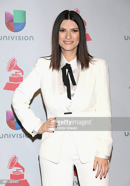 Singer Laura Pausini poses in the press room during The 14th Annual Latin GRAMMY Awards at the Mandalay Bay Events Center on November 21 2013 in Las...