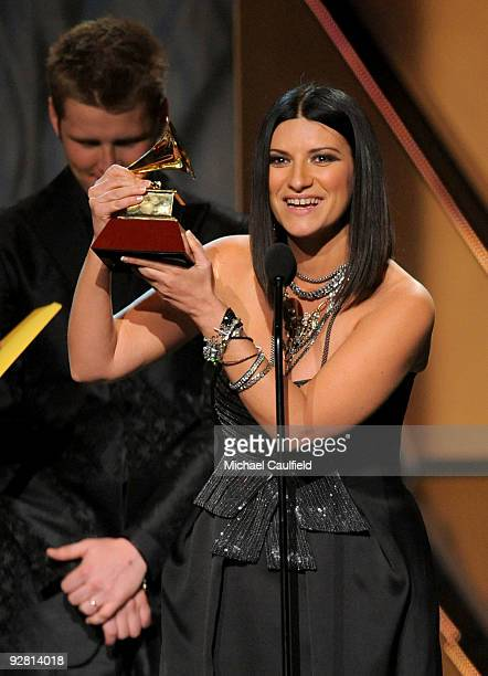 Singer Laura Pausini speaks onstage at the 10th Annual Latin GRAMMY Awards held at the Mandalay Bay Events Center on November 5 2009 in Las Vegas...