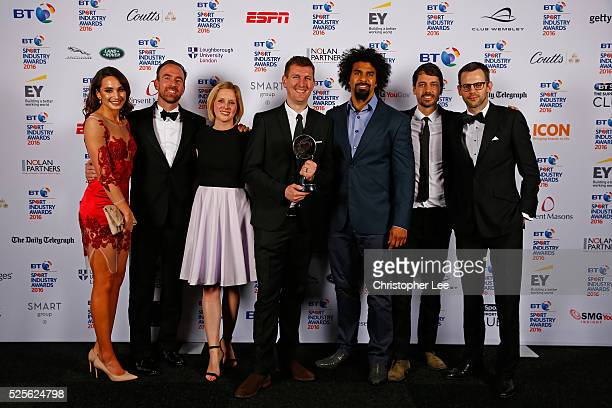 Singer Laura Wright and boxer David Haye present the Best Entertainment Experience award to O2 Wear The Rose LIVE at the BT Sport Industry Awards...