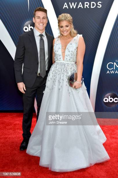 Singer Lauren Alaina and Alex Hopkins attend the 52nd annual CMA Awards at the Bridgestone Arena on November 14 2018 in Nashville Tennessee