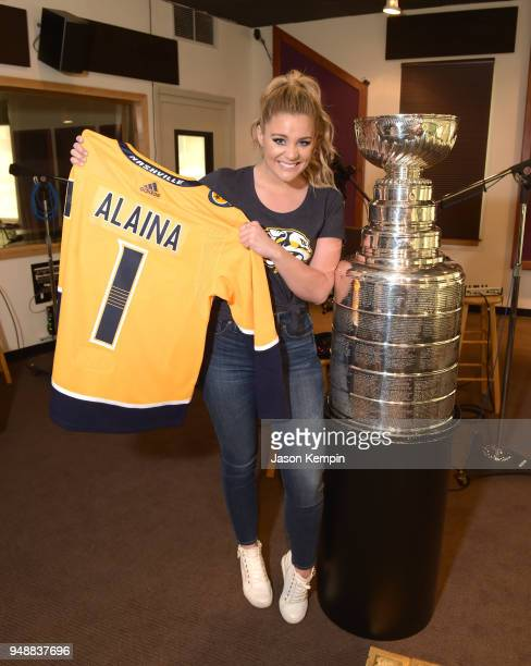 Singer Lauren Alaina is seen with the Stanley Cup Trophy at Audio Productions on April 19 2018 in Nashville Tennessee