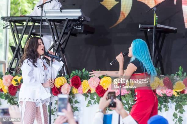 Singer Lauren Jauregui of Fifth Harmony and Halsey perform on NBC's 'Today' at Rockefeller Plaza on June 9 2017 in New York City