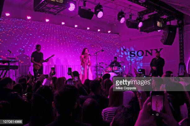 Singer Lauren Jauregui performs at Sony's Lost in Music tech and music popup experience on November 20 2018 in New York City on November 20 2018 in...