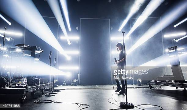 Singer Lauren Mayberry of Chvrches performs on stage at Paramount Theatre on October 14 2015 in Seattle Washington