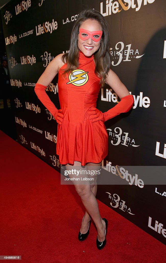 Singer Lauren Mayhew attends Life & Style Weekly's 'Eye Candy' Halloween Bash hosted by LeAnn Rimes at Riviera 31 at Sofitel on October 29, 2015 in Los Angeles, California.