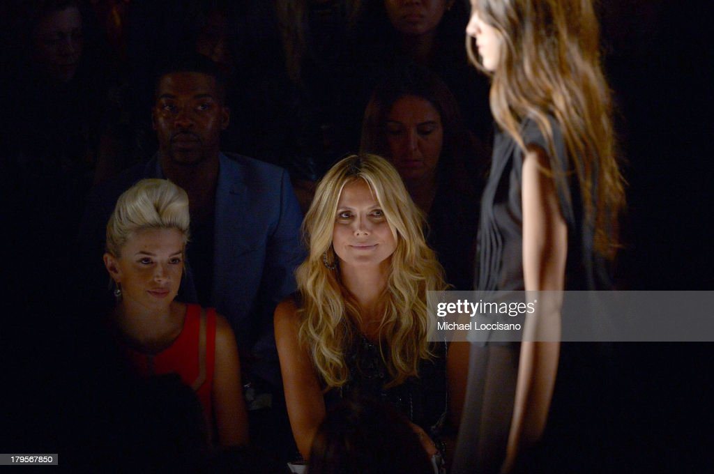Singer Lauriana Mae (L) and model Heidi Klum attend the BCBGMAXAZRIA Spring 2014 fashion show during Mercedes-Benz Fashion Week at The Theatre at Lincoln Center on September 5, 2013 in New York City.