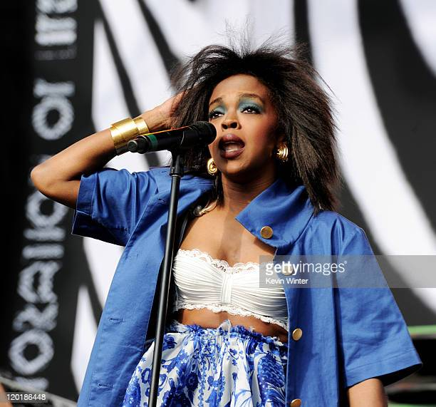 Singer Lauryn Hill performs at LA Rising at the LA Memorial Coliseum on July 30 2011 in Los Angeles California
