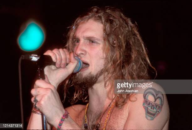 Singer Layne Staley is shown performing on stage during a live concert appearance with Alice In Chains on November 19 1990