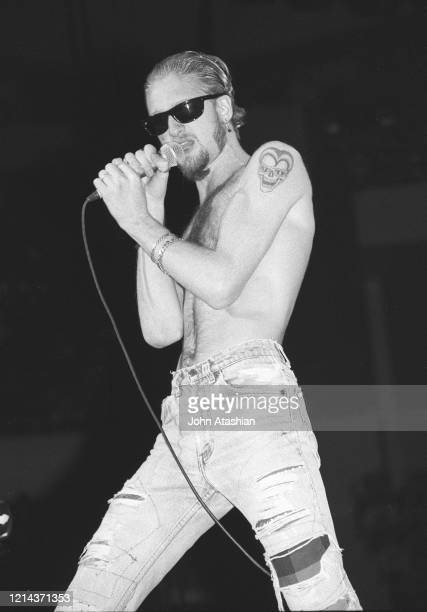 Singer Layne Staley is shown performing on stage during a live concert appearance with Alice In Chains on October 29 1991 n