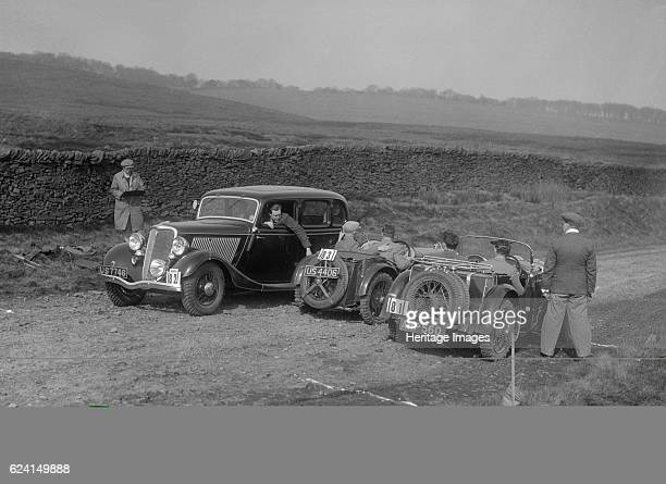 Singer Le Mans Ford V8 and MG J2 at the Sunbac InterClub Team Trial 1935 Artist Bill BrunellRight Singer Le Mans 1934 972 cc Vehicle Reg No AHP560...