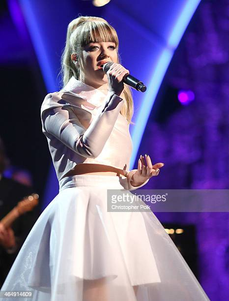 Singer Leah McFall performs onstage at 2014 MusiCares Person Of The Year Honoring Carole King at Los Angeles Convention Center on January 24 2014 in...
