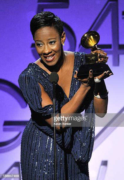 Singer Le'Andria Johnson accepts an award for Best Gospel/Contemporary Christian Music Performance onstage at the 54th Annual GRAMMY Awards held at...