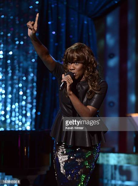 Singer Le'Andria Johnson performs onstage during the BET Celebration of Gospel 2013 at Orpheum Theatre on March 16 2013 in Los Angeles California