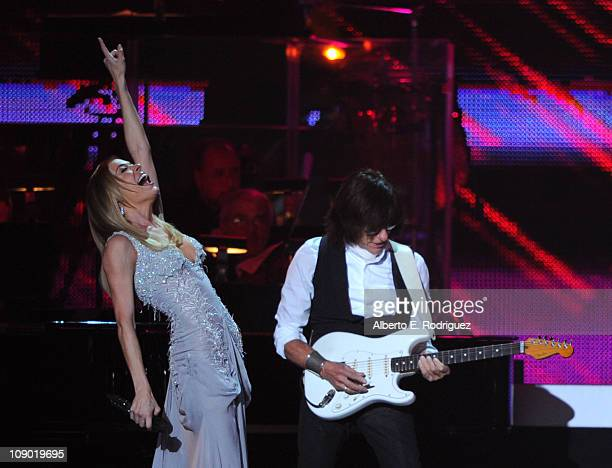 Singer LeAnn Rimes and guitarist Jeff Beck perform onstage at the 2011 MusiCares Person of the Year Tribute to Barbra Streisand held at the Los...