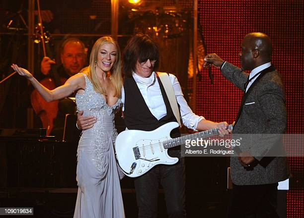 Singer LeAnn Rimes, guitarist Jeff Beck, and singer BeBe Winans perform onstage at the 2011 MusiCares Person of the Year Tribute to Barbra Streisand...