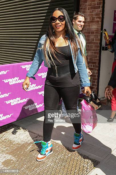 Singer Leanne 'Lelee' Lyons of SWV leaves the 'Wendy Williams Show' taping at the AMV Studio on April 17 2012 in New York City