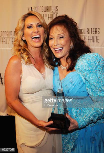 Singer Lee Ann Womack and inductee Loretta Lynn attend the 39th Annual Songwriters Hall of Fame Ceremony at the Marriott Marquis on June 19 2008 in...