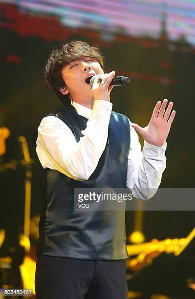 Singer Lee Honggi of South Korean pop/rock band FT Island performs onstage during his concert on January 17 2016 in Taipei Taiwan of China