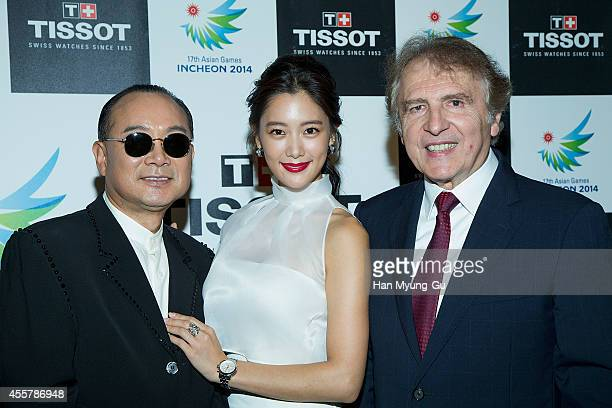 Singer Lee SeungKyu actress Clara and TISSOT President Francois Thiebaud attend the 17th Asian Games Incheon 2014 Gala Dinner With TISSOT on...