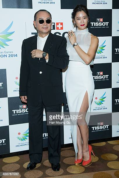 Singer Lee SeungKyu and actress Clara attend the 17th Asian Games Incheon 2014 Gala Dinner With TISSOT on September 20 2014 in Incheon South Korea