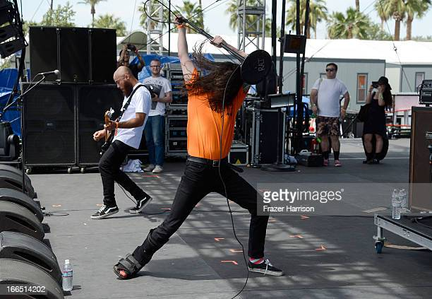 Singer Lee Spielman of Trash Talk performs onstage during day 2 of the 2013 Coachella Valley Music Arts Festival at The Empire Polo Club on April 13...
