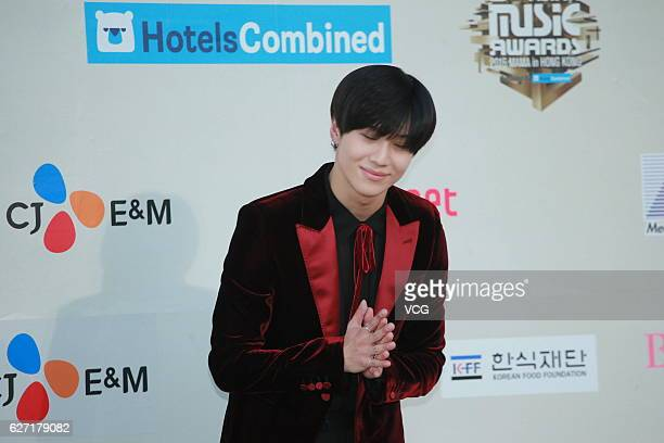 Singer Lee Taemin arrives at the red carpet during the 2016 Mnet Asian Music Awards at AsiaWorldExpo on December 2 2016 in Hong Kong Hong Kong