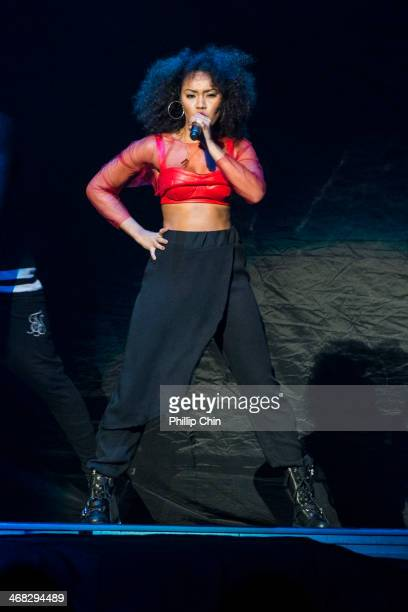 "Singer Leigh Anne Pinnock of Little Mix performs in the opening act for Demi Lovato's first concert of ""The Neon Lights Tour"" at Rogers Arena on..."