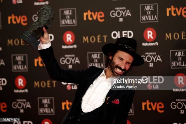 Singer Leiva poses with his film music award with the movie 'Handia' during the 32th edition of the Goya Awards ceremony in Madrid Spain on February...