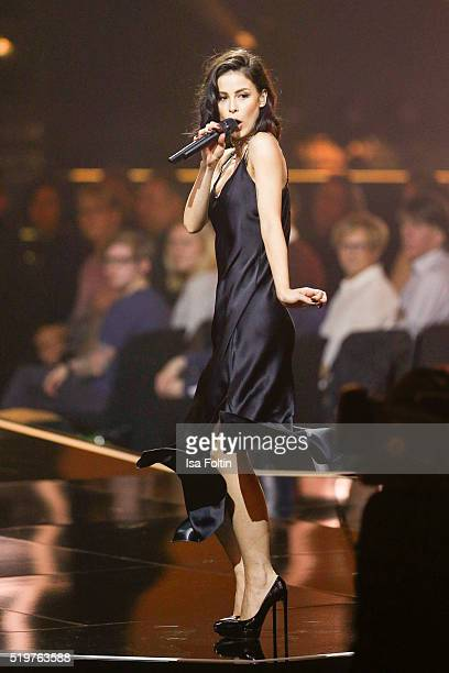 Singer Lena MeyerLandrut performs at the Echo Award 2016 show on April 07 2016 in Berlin Germany