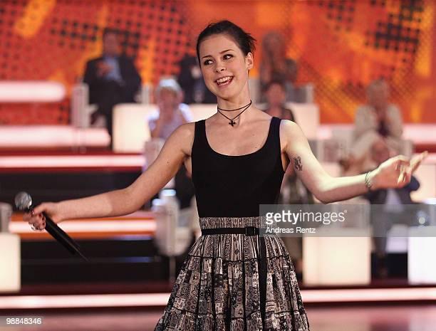 Singer Lena MeyerLandrut performs during the SKL show 'Tag des Gluecks' at Tempodrom on May 4 2010 in Berlin Germany