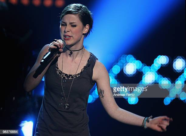 Singer Lena MeyerLandrut performs during the 'Verstehen Sie Spass' television show on April 10 2010 in Halle Germany