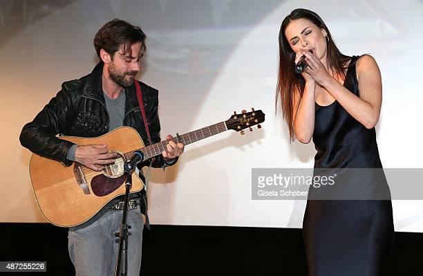 Singer Lena MeyerLandrut sings during the world premiere of 'Fack ju Goehte 2' at Mathaeser Kino on September 7 2015 in Munich Germany