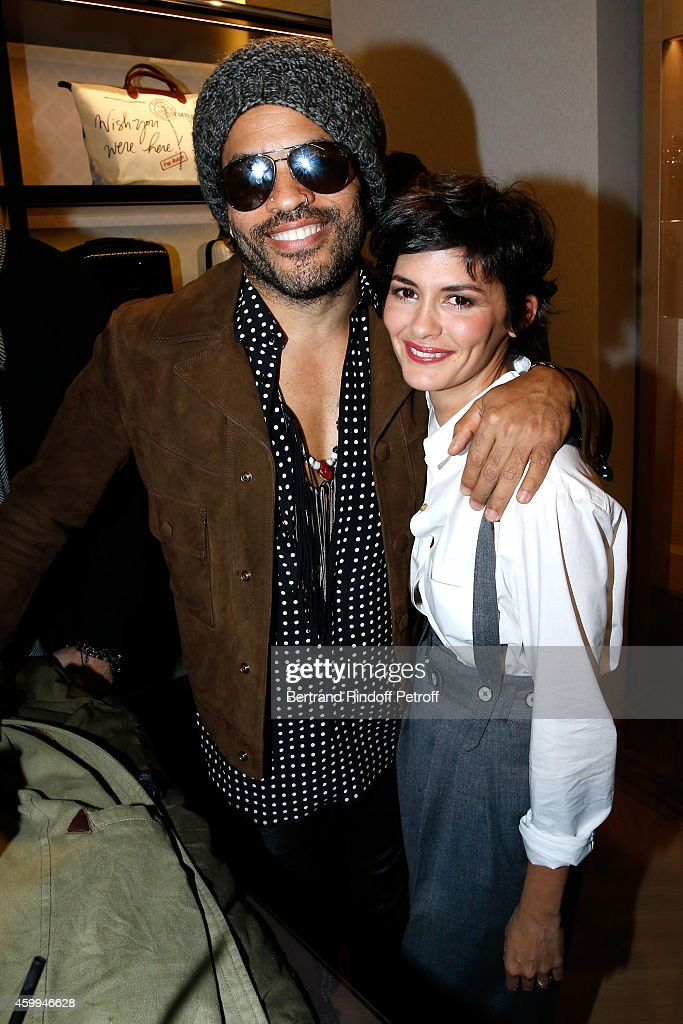 Singer Lenny Kravitz and actress Audrey Tautou attend the Longchamp Elysees 'Lights On Party' Boutique Launch on December 4, 2014 in Paris, France.