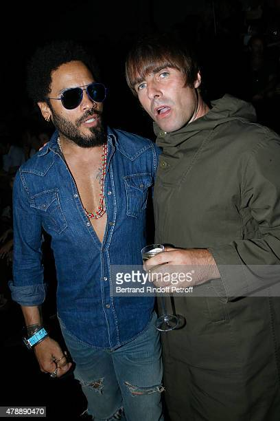 Singer Lenny Kravitz and Musician Liam Gallagher attend the Saint Laurent Menswear Spring/Summer 2016 show as part of Paris Fashion Week on June 28...