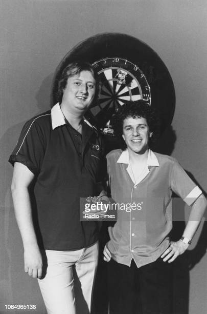 Singer Leo Sayer and darts player Eric Bristow pictured together as part the Lean on Me segment of the BBC show 'Leo Sayer' November 30th 1982