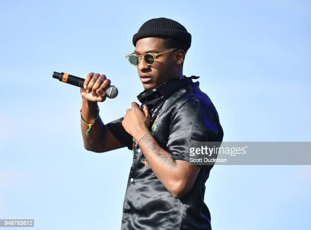 Singer Leon Bridges performs as a special guest on the Outdoor stage during week 1, day 3 of the Coachella Valley Music and Arts Festival on April...