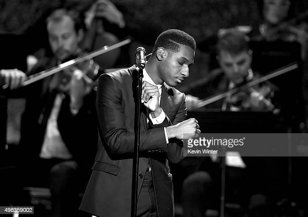 Singer Leon Bridges performs onstage during the 2015 American Music Awards at Microsoft Theater on November 22, 2015 in Los Angeles, California.