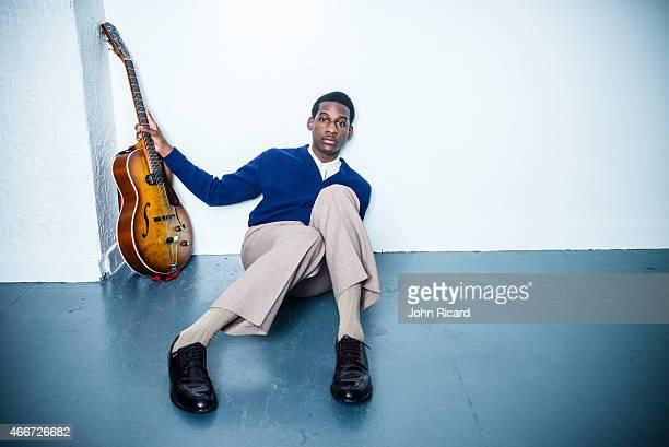 Singer Leon Bridges poses at a portrait shoot on February 17 2015 at John Ricard Studio in New York City