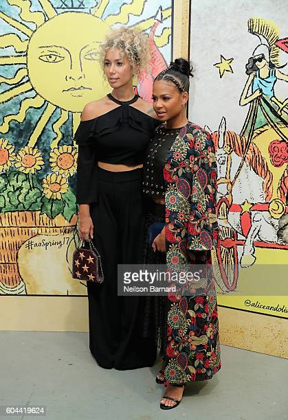 Singer Leona Lewis and Singer Christina Milian attend the Alice Olivia By Stacey Bendet fashion show during New York Fashion Week September 2016 at...