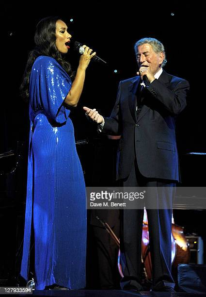 Singer Leona Lewis joins Tony Bennet in concert at the London Palladium on October 3 2011 in London England