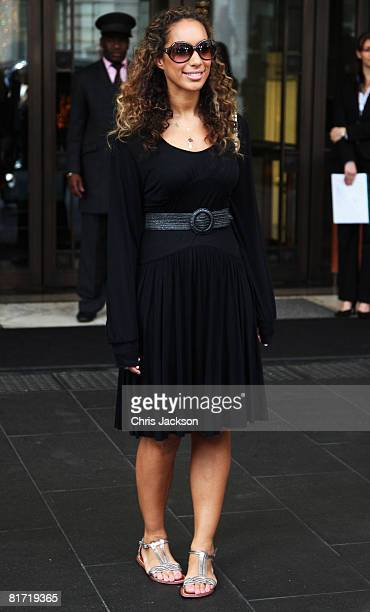 Singer Leona Lewis leaves the InterContinental Hotel after a photoshoot with celebrity photographer Terry O'Neil on June 26, 2008 in London, England....