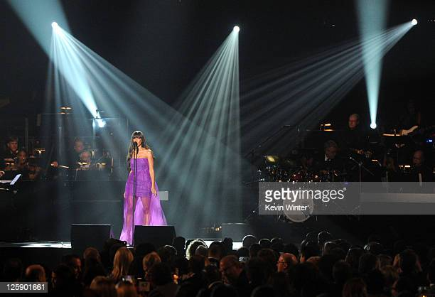 Singer Leona Lewis performs onstage at 2011 MusiCares Person of the Year Tribute to Barbra Streisand at Los Angeles Convention Center on February 11,...