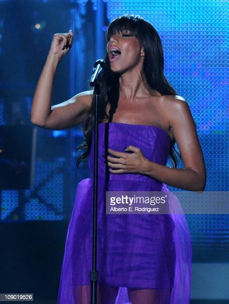 Singer Leona Lewis performs onstage at the 2011 MusiCares Person of the Year Tribute to Barbra Streisand held at the Los Angeles Convention Center on...